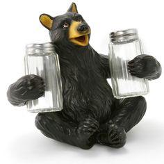 Black Bear Hiding Behind Tree Salt and Pepper Shakers Holder Decor Home Kitchen