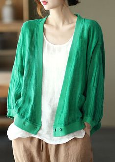 Chic Green Loose Retro V Neck Fall Blouses Long Sleeve Early Fall Outfits, Long Blouse, Cotton Style, White Long Sleeve, Shoulder Sleeve, V Neck, Chic, Casual, Blouses