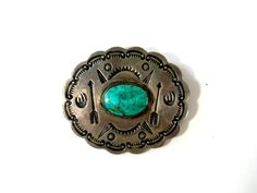 American Indian Concho Turquoise and Sterling Brooch with Bear Claws Rattlesnake Jaws