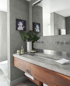 Beautiful timber vanity - makes the grey work