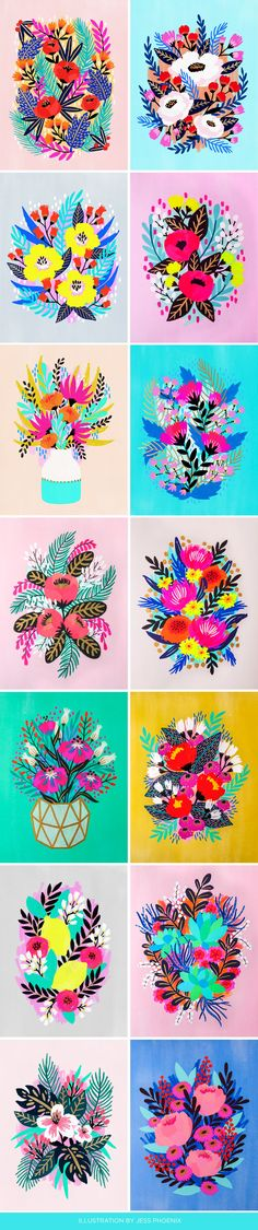 To no surprise, these bright, uniquely illustrated floral paintings immediately grabbed my attention when I saw them. With a personal drive to explore rich, bold colors, Jess Phoenix is a RISD graduate now living on the West coast and working for Compendium creating work for Target, Starbucks, and more.   Follow more of Jess here on Instagram and Twitter.