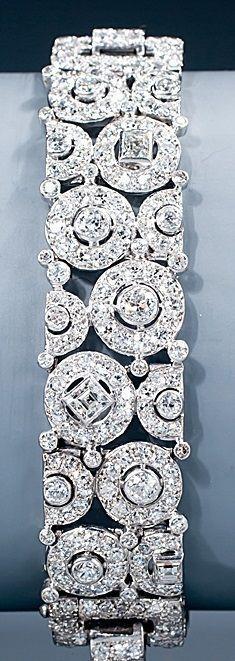 Tendance Bracelets  A magnificent Art Deco diamond bracelet by Cartier. Of an unusual geometric desi