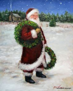 Santa Claus with Wreaths.