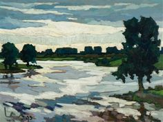 Kees Bol, The Meuse near Bokhoven, 1993 Abstract Landscape Painting, Landscape Paintings, Landscapes, Dutch Artists, Art Images, Still Life, Tutorials, Sea, Portrait