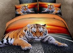 Top Class Lying Tiger Print 4-Piece 3D Duvet Cover Sets on sale, Buy Retail Price Animal Print Bedding Sets at Beddinginn.com