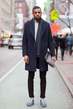 Coat: Zara / Shirt: Vince. / Jeans: Levi's / Bag: Goyard / Shoes: Margiela  Justin, 23, New York/Los Angeles submitted by www.sixfoot-...