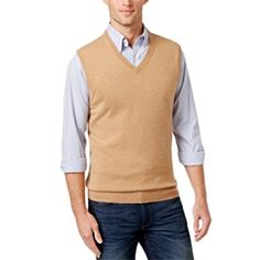 Club Room Cashmere Solid Sweater Vest, Camel, Size Medium Review