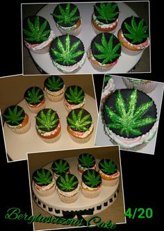High Times Cupcake with Marijuana leaf Everything Edible Weed Birthday Cake, Birthday Cake For Him, Adult Birthday Cakes, Yummy Treats, Delicious Desserts, Sweet Treats, Bithday Cake, Occasion Cakes, Creative Cakes