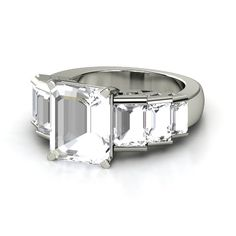 Emerald-Cut Rock Crystal Sterling Silver Ring