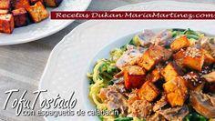 Tofu Mercadona Recetas: Tofu Tostado con espaguetis de calabacín y salsa de queso (dieta Dukan,  Crucero PV ) Menu Dieta, Diet Recipes, Vegan, Chicken, Food, Health Insurance, Search, Decor, Vegetarian