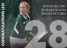 Our good friend's niece! Congratulations! Lexi Baylis wins 6-3, 7-5! With that win, she holds the school record for single-season singles wins at 28! #GOGReen