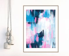 Pink and Blue Abstract Painting, Colourful Giclee Print, Modern Art, Extra Large Wall Art, Pink Wall Art, Abstract Art by InspirationAbstracts on Etsy #Art #Painting #BluePainting #Art #Pink #ModernArt #ContemporaryArt