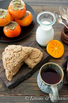 Plain scones are made fall-perfect with chunks of persimmon and a hint of cinnamon. Brunch Recipes, Fall Recipes, Breakfast Recipes, Dessert Recipes, Breakfast Ideas, Yummy Recipes, Persimmon Recipes, Persimmon Cookies, Bonjour