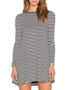Shop Monochrome Stripe Long Sleeve Mini T-shirt Dress from choies.com .Free shipping Worldwide.$12.11