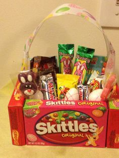 Kids easter basket teacher gift easter pinterest easter if you find yourself last minute and no basket here is an easy diy candy easter basket idea negle Images