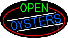 Open Oysters Oval With Red Border Neon Sign