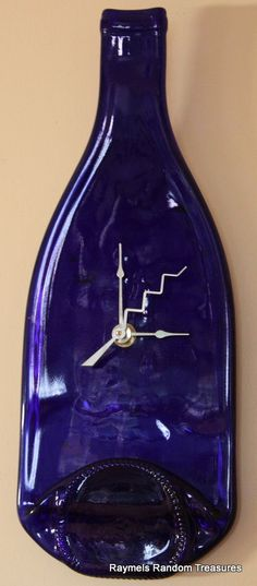 Wine Bottle Wall Clock Cobalt Blue slumped fused glass by RayMels, $24.95 #promooasis #RT