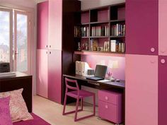 Admirable Teenager Girl Bedroom Design Interior Presenting Simple Study Areas With Bookcases Above Flanked Tall Wardrobe In Pink Shade For Teenage Girl Bedroom Paint Ideas. Awe-Inspiring Teenage Girl Bedroom Paint Ideas Create Your Personality Small Teenage Bedroom, Teenage Girl Bedroom Designs, Small Bedroom Designs, Small Room Design, Teenage Girl Bedrooms, Small Room Bedroom, Kids Room Design, Small Rooms, Girls Bedroom
