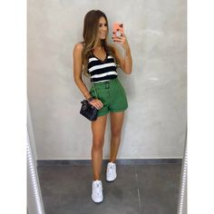 Look Casual Chic, Casual Looks, Short Outfits, Short Dresses, Looks Com Short, Look Legging, Color Blocking Outfits, White Sneakers, Denim Skirt