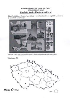 Plzeňský a Karlovarský kraj - práce s mapou a zakreslení vybraných měst do slepé mapy (skupinový úkol - pracovní list)