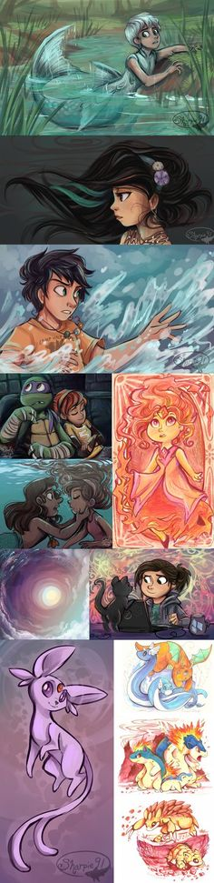 Husky from +Anima (still my favorite manga) Random girl Percy Jackson April and Donatello Flame Princess for   (Marker and Colored Pencil) Mermando and Mabel Background for HTTYD 2 Night and D...
