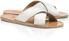 Ancient Greek Sandals White Watersnake Thais Sandals