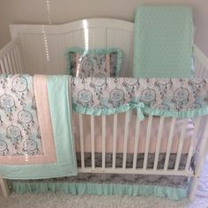 baby bedding crib set boho dreamcatchers baby girl mint teal coral peach gray made to order - Baby Girl Crib Bedding