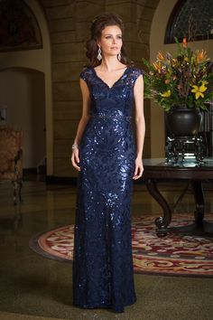 Stunning gown in midnight with sequin detailing and capped shoulder. Jade Couture collection ~ mirellas.ca