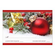 Festive Christmas Wedding RSVP Card