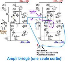 schema pour bridger un ampli stereo 1 Audio Amplifier, Circuit Diagram, Electronics Projects, Memes, Electronic Circuit, Concept Art, Sci Fi, Corner, Ideas