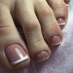 17 Ideas french pedicure designs toenails pretty toes for 2019 Pretty Toe Nails, Cute Toe Nails, My Nails, Pretty Toes, Toe Nail Color, Toe Nail Art, Nail Nail, French Toe Nails, French Toes