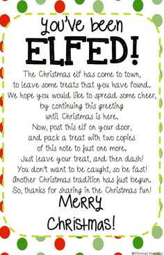 You've Been Elfed Sign Elf Printable Elfed Sign Elfed   Etsy Christmas Gift Games, Christmas Activities, Christmas Printables, Homemade Christmas, Simple Christmas, Family Christmas, Holiday Fun, Christmas Holidays, Christmas Ideas