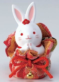 Rakuten: 錦彩 crape drawstring purse flower rabbit (request)- Shopping Japanese products from Japan