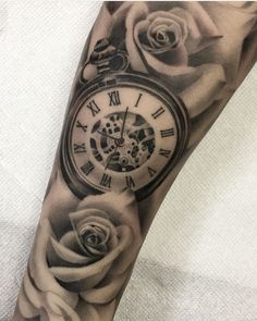 Pocket watch and roses by Kevin Chen (@kchen.chronicink) done at Chronic Ink Tattoo - Toronto, Canada