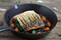 Crispy Skin Salmon.   he says:  When ever you sear the skin it gets incredibly crispy and helps keep the meat of the salmon from getting dry. When I say crispy I mean crunchy crispy, the most gorgeous crust you can get on fish.