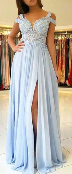 Cheap Light Blue Chiffon Split Long Prom Dresses With Lace Appliques OKA43 #lightblue #chiffon #lace #split #aline #long #prom #okdresses