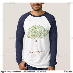 Apple tree, Save trees ! Earth Day men shirt . designed by ArianeC from iCraftCafé