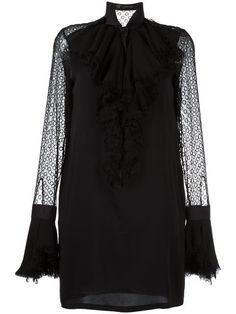 Shop Versace ruffled neck cocktail dress.