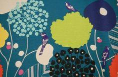 Kokka Echino - Wildblumen mit Vögeln - petrol von Dein NähReich auf DaWanda.com