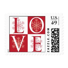 Red Snowflake LOVE Winter Postage Stamp
