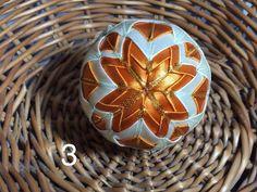 Dekorácie - vianočné patchworkové gule smotanovo-oranžové so zlatým lemom - 7149072_