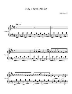 Hey There Delilah piano sheet music