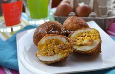 Uova sode, panate e fritte con mortadella, secondo piatto