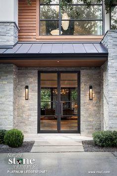 Natural Stone Veneers International Inc. Natural Stone Veneers International Inc. Stone Exterior Houses, Exterior House Colors, Exterior Doors, Exterior Design, Modern Exterior, Modern Entrance Door, House Entrance, Entrance Doors, Modern Front Door