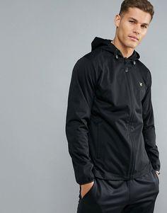 Lyle & Scott Fitness Bennett Hooded Running Jacket in Black #ad