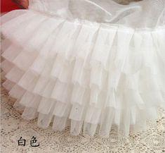 От белого раффлед тюль кружевной отделкой, Пачка платье ткани, Рюшами сетки кружева, Кукла платье ткани, Свадебные декоры, Ft009ow