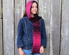 Crocheted Scarf, Variegated Pink and Black; Pink Black, Black Stripes, Hot Pink, Star Girl, Crochet Scarves, Wool Yarn, Hand Crochet, Handmade, Etsy