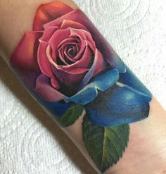 realistic multi colored rose tattoo