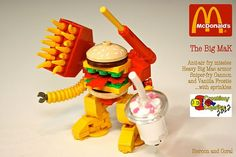Built by Sean and Steph Mayo for BrickLink's Creations for Charity, this LEGO Big MaK Mech comes equiped with anti-air fry missiles, heavy Big Mac armor, sniper-fry cannon and vanilla frostie … with sprinkles! [Sean and Steph Mayo Minifigura Lego, Robot Lego, Lego Food, Lego Craft, Food Food, Lego Design, Lego Mcdonalds, Instructions Lego, Mega Pokemon