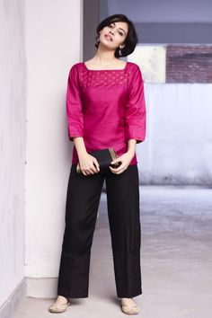 pretty in pink #silk #short #kurta and #black #cotton #pants